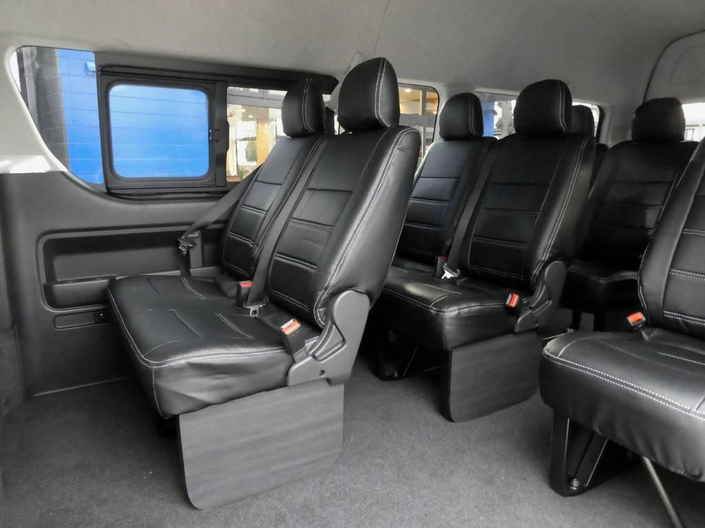 後席も当然!専用シートカバー配備でお手入れラクラクです!! | トヨタ ハイエース 2.7 グランドキャビン 4WD トリプルナビカスタム