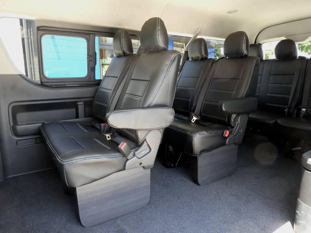 後席も当然!専用シートカバーを配備!! | トヨタ ハイエース 2.7 GL ロング ミドルルーフ 4WD 新型TSS付き トリプルナビspl
