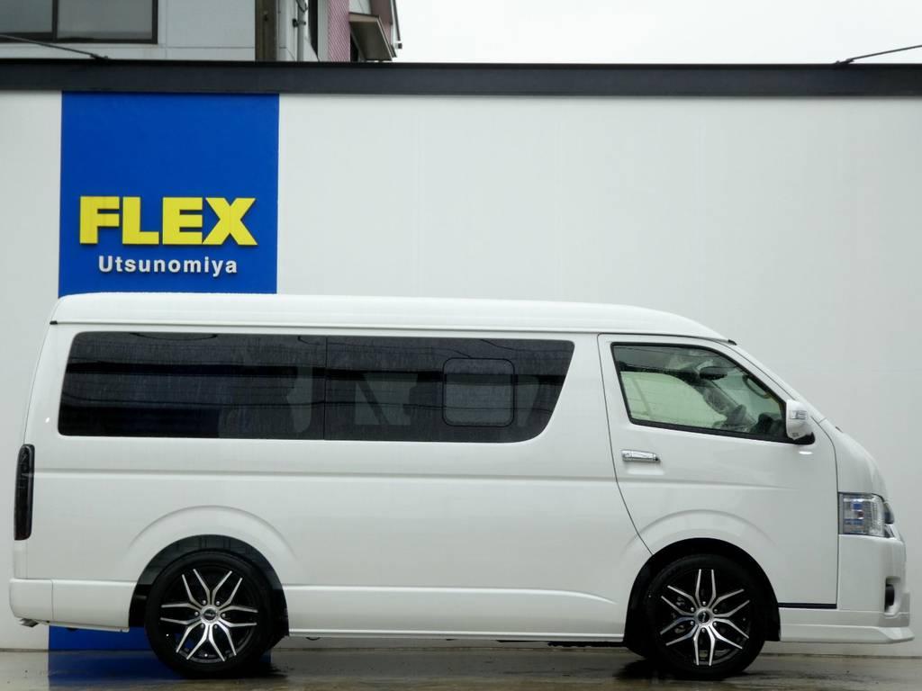 1,5インチローダウン施工済み!構造変更後のご納車となりますのでご安心ください!!メーカーオプションのパワースライドドア完備!! | トヨタ ハイエース 2.7 GL ロング ミドルルーフ 4WD 新型TSS付き トリプルナビspl