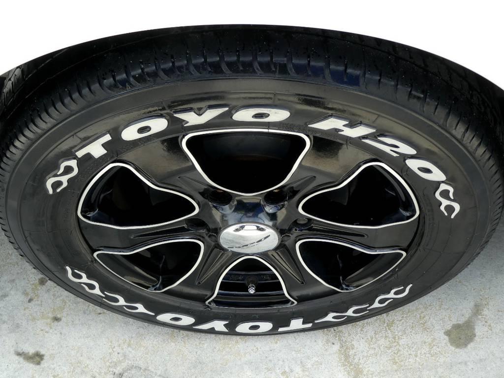 バウンディ16インチアルミ トーヨーH20ホワイトレタータイヤをセット!! | トヨタ ハイエースバン 2.0 スーパーGL ロング ツインナビカスタム