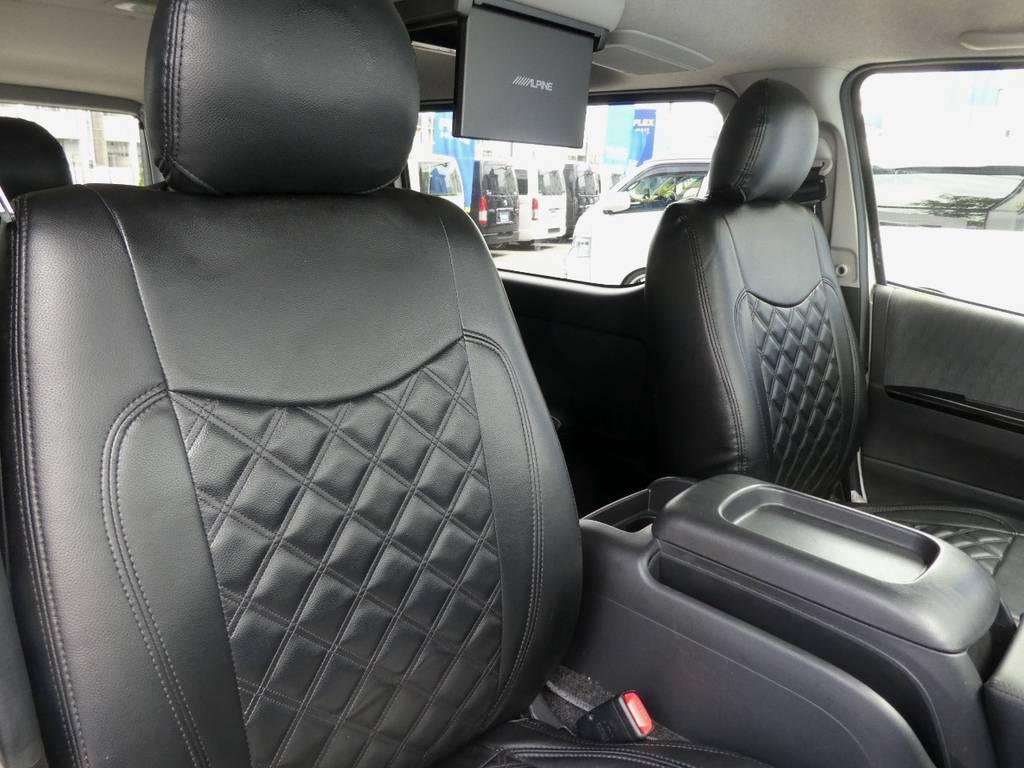 立体裁断の専用シートカバーをセット!! | トヨタ ハイエースバン 2.0 スーパーGL ロング ツインナビカスタム
