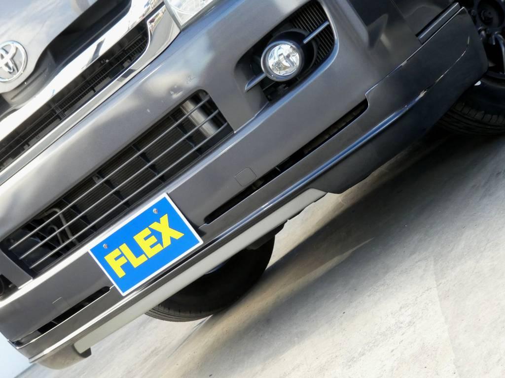 FLEXオリジナルスポイラーがフロントフェイスを引き締めます!! | トヨタ レジアスエース 3.0 スーパーGL ロングボディ ディーゼルターボ 4WD
