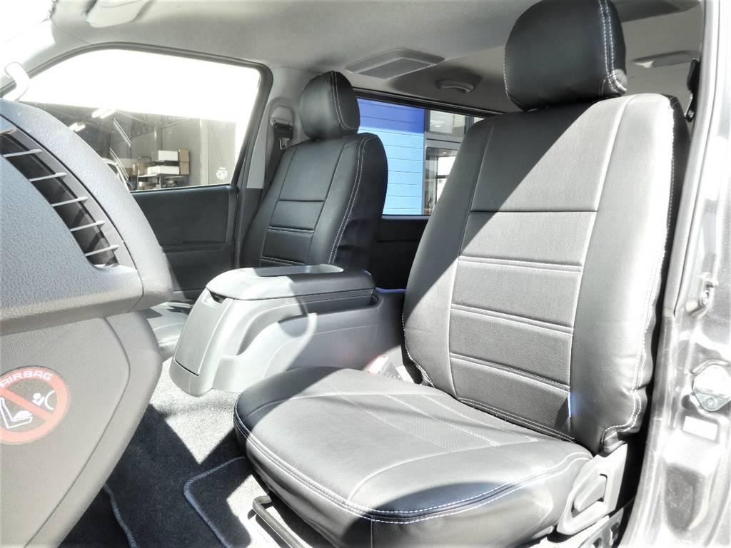 助手席ももちろん立体裁断の専用シートカバー!! | トヨタ レジアスエース 3.0 スーパーGL ダークプライム ロングボディ ディーゼルターボ 4WD 内外装フルカスタム