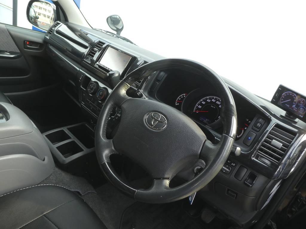 コンビステアリングは操作するのが楽しくなりますよ!!   トヨタ ハイエースバン 3.0 スーパーGL ロング ディーゼルターボ 4WD 内外装フルカスタム