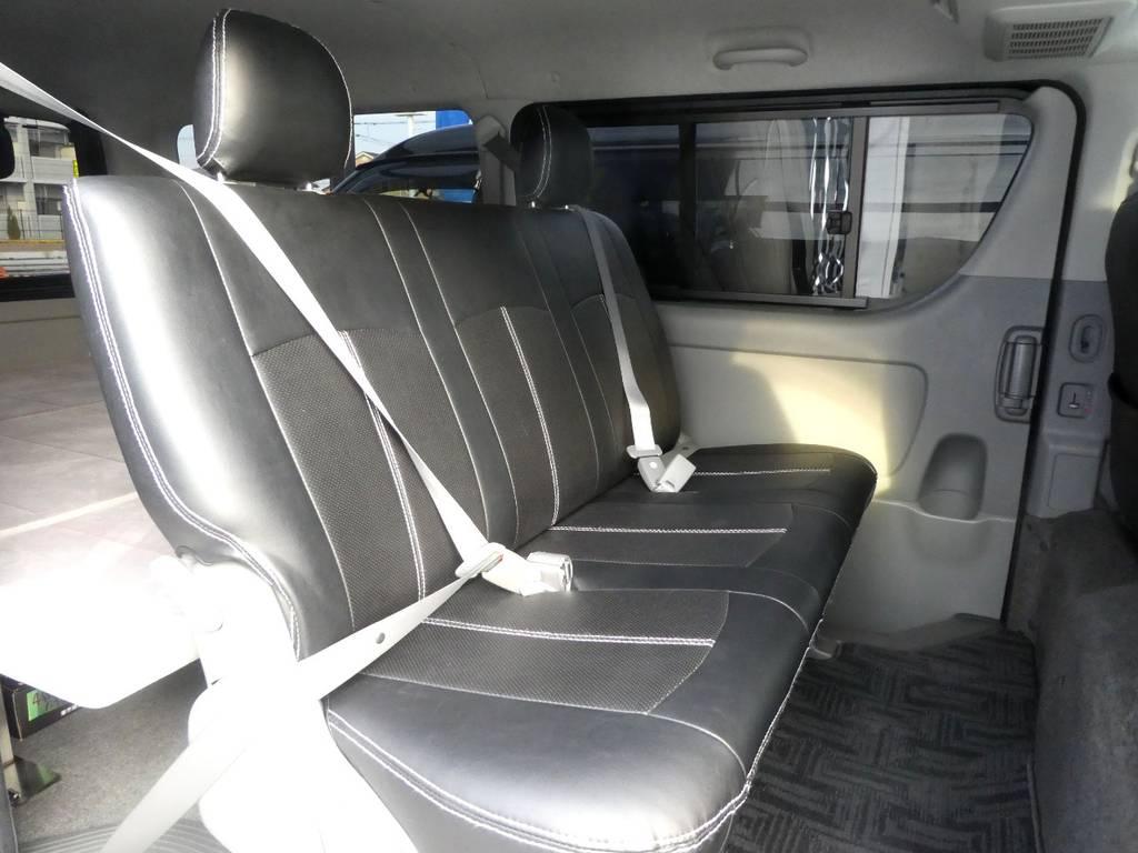 後席シートベルト配備で安心ですね!!   トヨタ ハイエースバン 3.0 スーパーGL ロング ディーゼルターボ 4WD 内外装フルカスタム