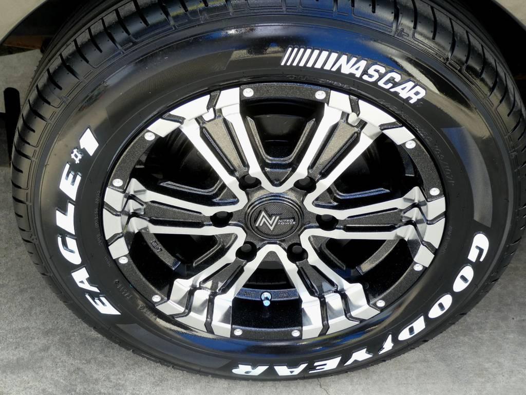 クロスクロー16インチアルミ ナスカーホワイトレタータイヤをセット!! | トヨタ ハイエースバン 3.0 スーパーGL ロング ディーゼルターボ 4WD 内外装フルカスタム