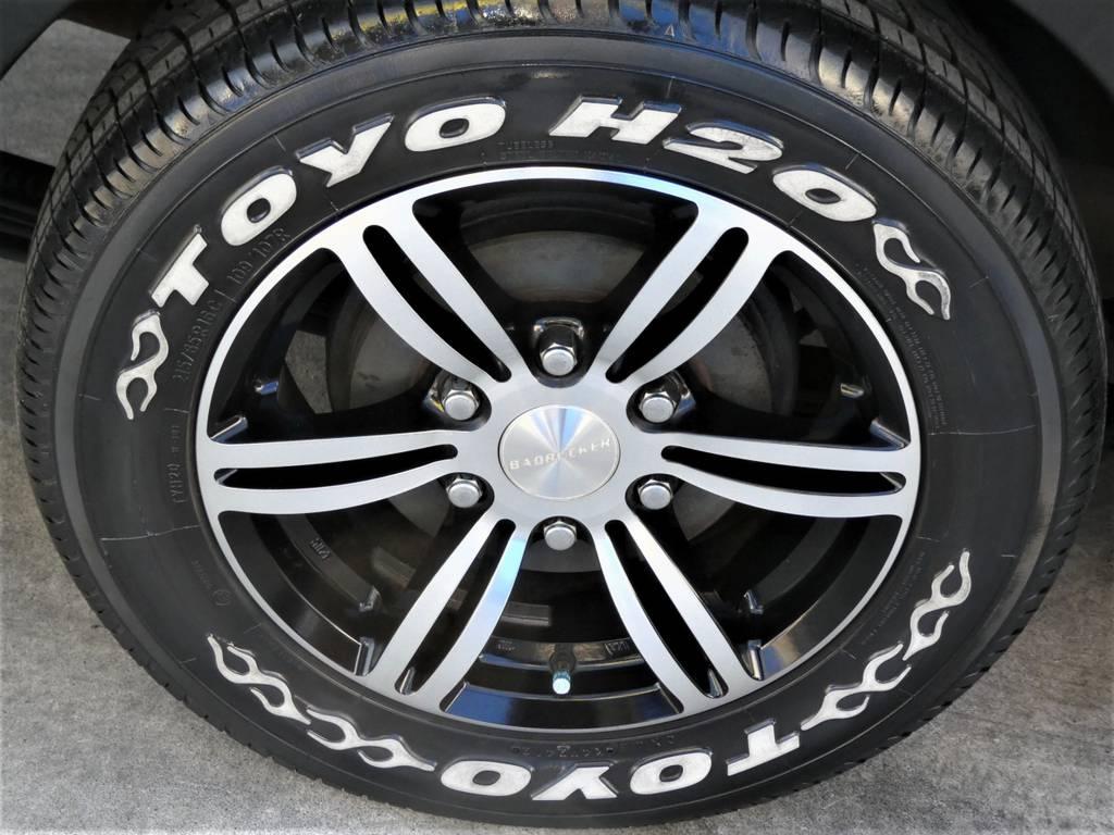 415COBRAバッドラッカー16インチアルミ レーシングナット トーヨーH20ホワイトレタータイヤ!!