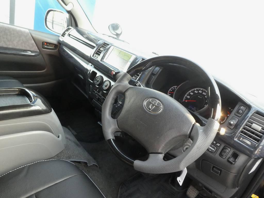 ガングリップコンビステアリングは操作するのが楽しくなりますよ!! | トヨタ レジアスエース 2.5 スーパーGL ロングボディ ディーゼルターボ 4WD ワイルドカスタム