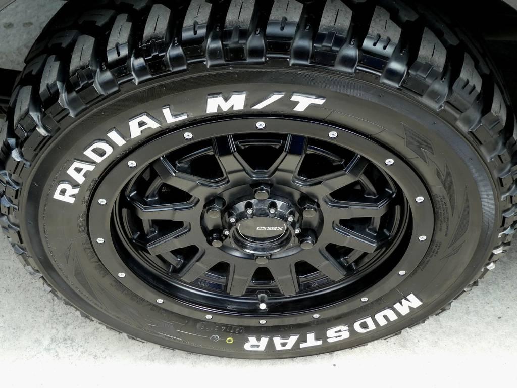 ESSEX EX16アルミ マッドスターホワイトレタータイヤをセット!! | トヨタ レジアスエース 2.5 スーパーGL ロングボディ ディーゼルターボ 4WD ワイルドカスタム