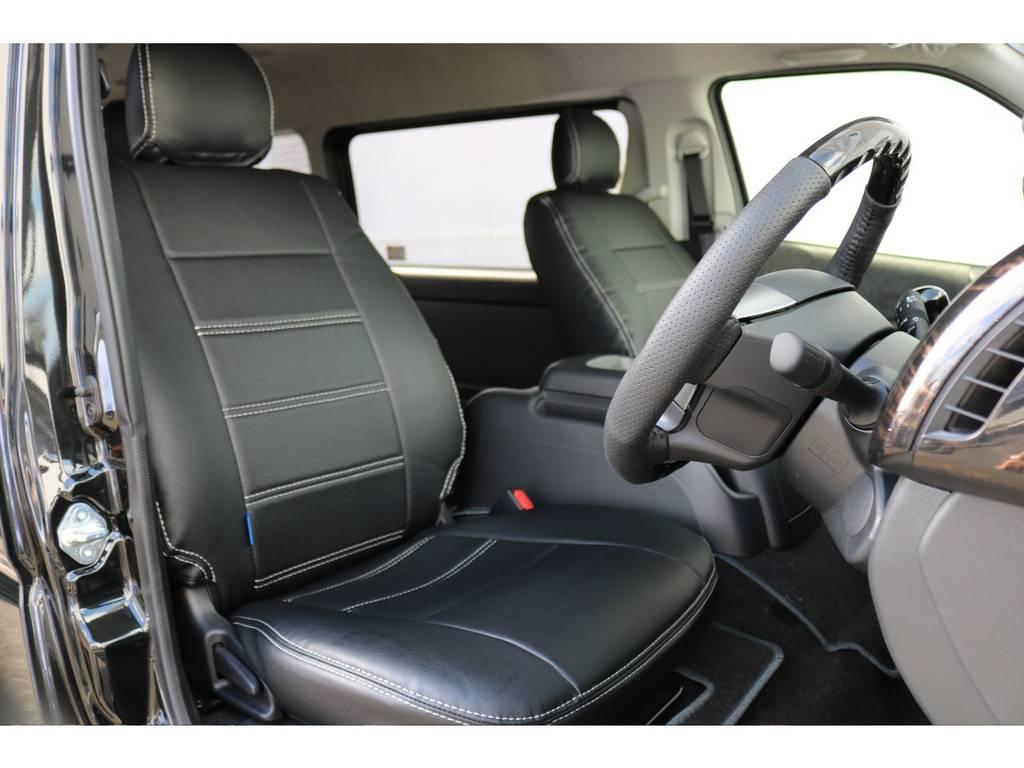 オリジナル黒革調シートカバーは全席装着済み! | トヨタ ハイエース 2.7 GL ロング ミドルルーフ TSS付