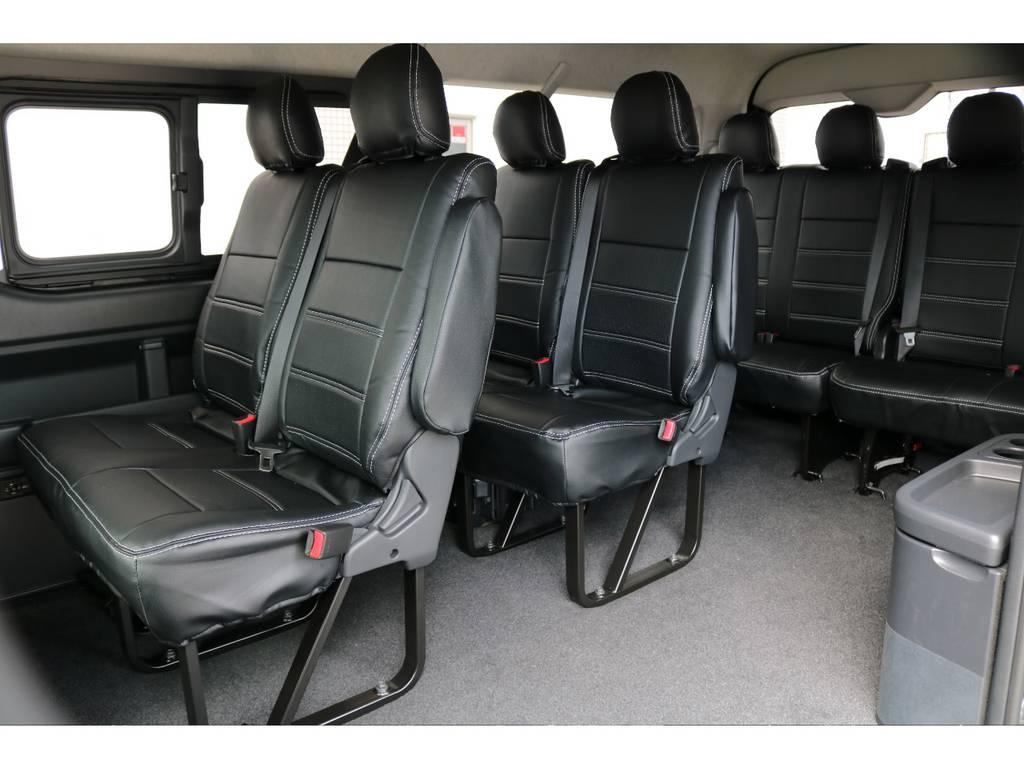 座り心地ももちろんですが、お掃除も楽々で快適にお使い頂けます♪ | トヨタ ハイエース 2.7 GL ロング ミドルルーフ TSS付