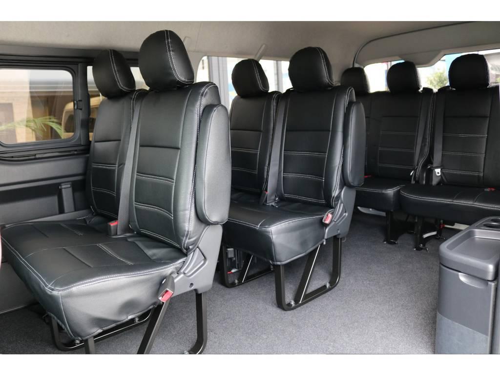 オリジナル 黒革調シートカバー全席装着!! | トヨタ ハイエース 2.7 GL ロング ミドルルーフ 4WD TSS付 即納車可能 人気のナビPKG