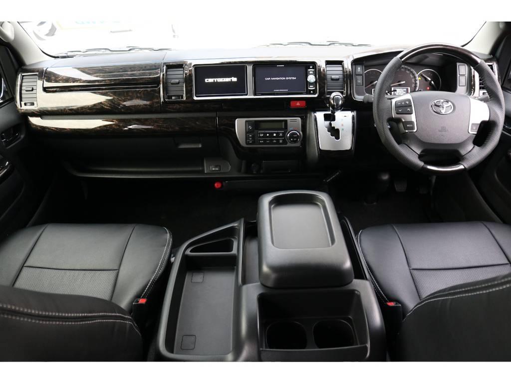 ケースペック マホガニー調インテリアパネル&ハンドル&シフトノブ付き!! | トヨタ ハイエース 2.7 GL ロング ミドルルーフ 4WD TSS付 トリプルナビパッケージプラス