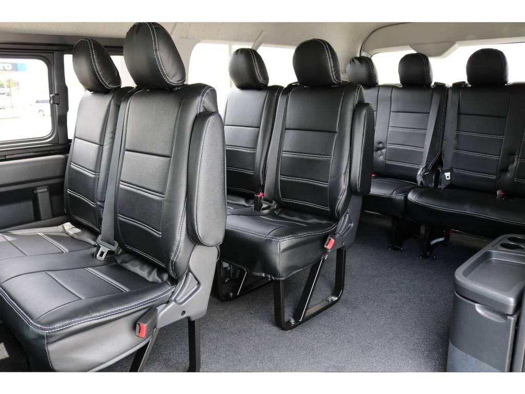 オリジナル 黒革調シートカバー(全席)付き!! | トヨタ ハイエース 2.7 GL ロング ミドルルーフ 4WD TSS付 トリプルナビパッケージプラス