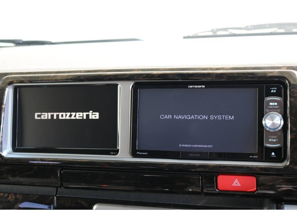 カロッツェリア サブモニターも付いてます!! | トヨタ ハイエース 2.7 GL ロング ミドルルーフ 4WD TSS付 トリプルナビパッケージプラス