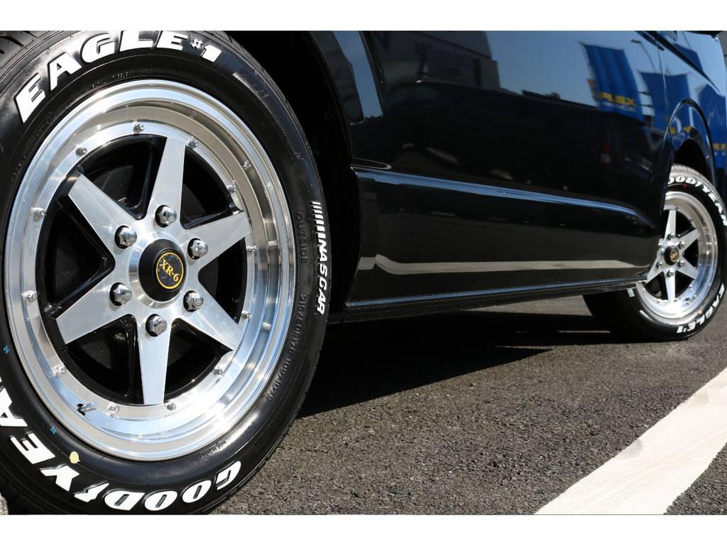 ファブレスXR6 17インチアルミ&グッドイヤー17インチナスカータイヤ装着!! | トヨタ ハイエース 2.7 GL ロング ミドルルーフ 4WD TSS付 内装施工 ARRANGE R1