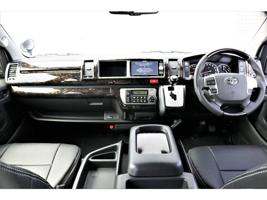 ケースペック マホガニー調インテリアパネル&ハンドル&シフトノブ、そしてステアリングスイッチ付きでナビの操作も楽です!! | トヨタ ハイエース 2.7 GL ロング ミドルルーフ 4WD TSS付 内装施工 ARRANGE R1