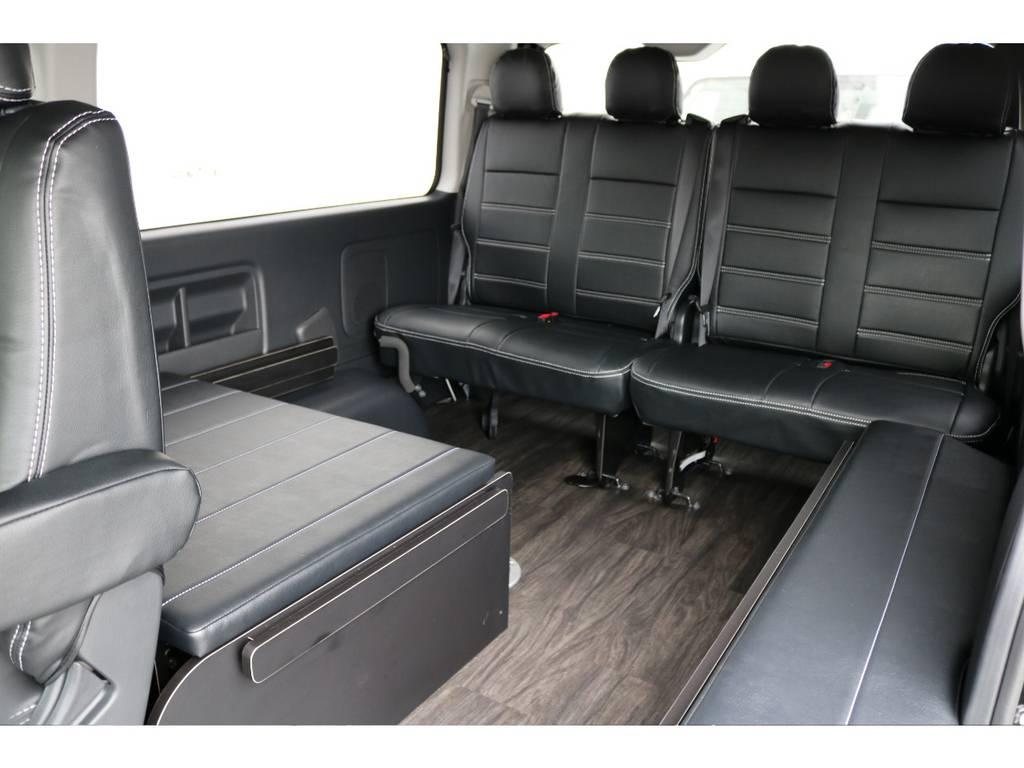 全席フレックスオリジナル黒革調シートカバー付き!! | トヨタ ハイエース 2.7 GL ロング ミドルルーフ 4WD TSS付 内装施工 ARRANGE R1