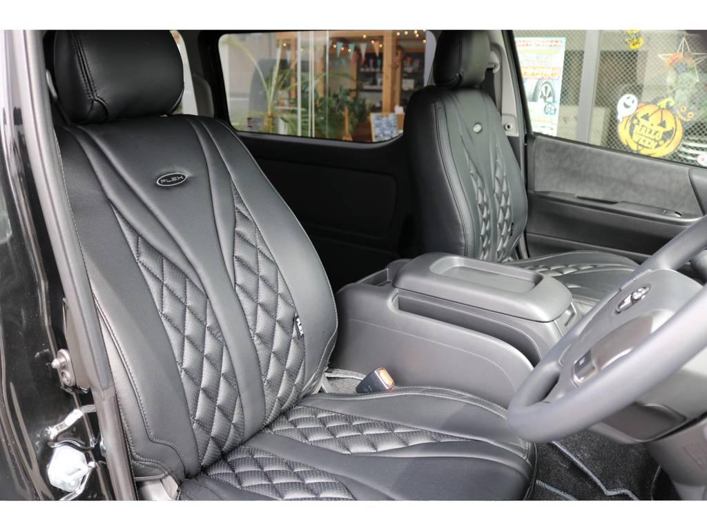 全席フレックスオリジナル黒革調シートカバー付き!! | トヨタ ハイエース 2.7 GL ロング ミドルルーフ 4WD TSS付