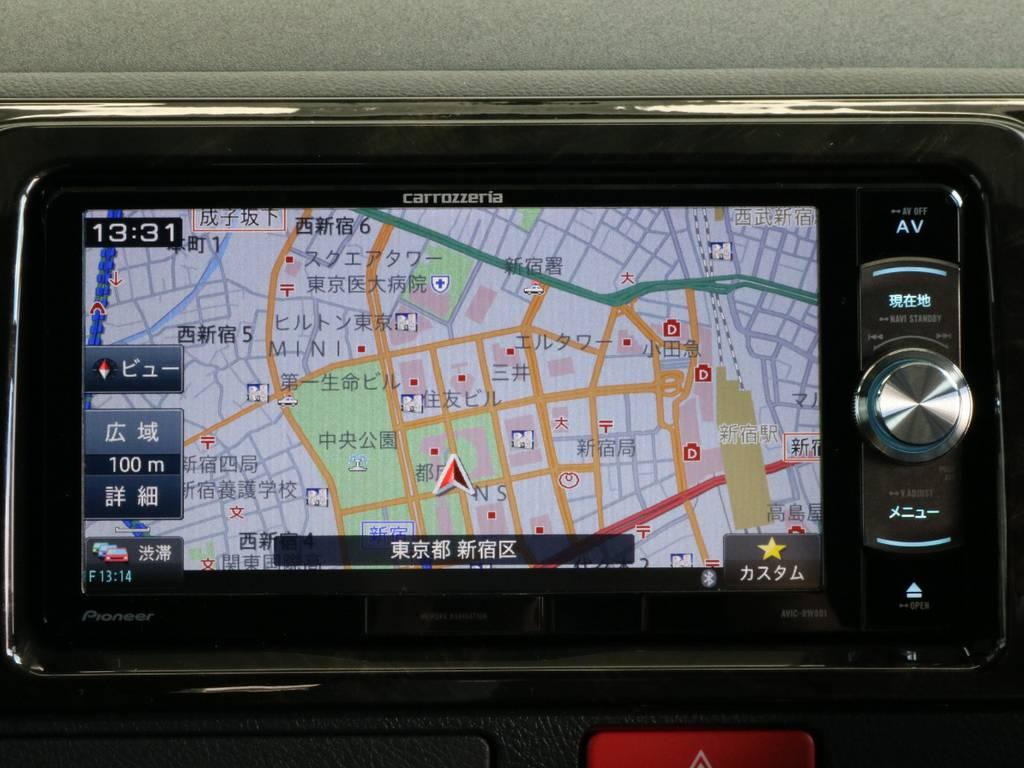 カロッツェリアSDナビです。   トヨタ ハイエースバン 2.8 スーパーGL ダークプライムⅡ ロングボディ ディーゼルターボ 4WD 寒冷地仕様 小窓付き