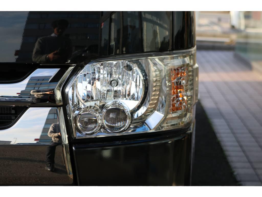 純正オプションLEDヘッドライト! | トヨタ ハイエースバン 2.8 スーパーGL ダークプライムⅡ ロングボディ ディーゼルターボ PS無