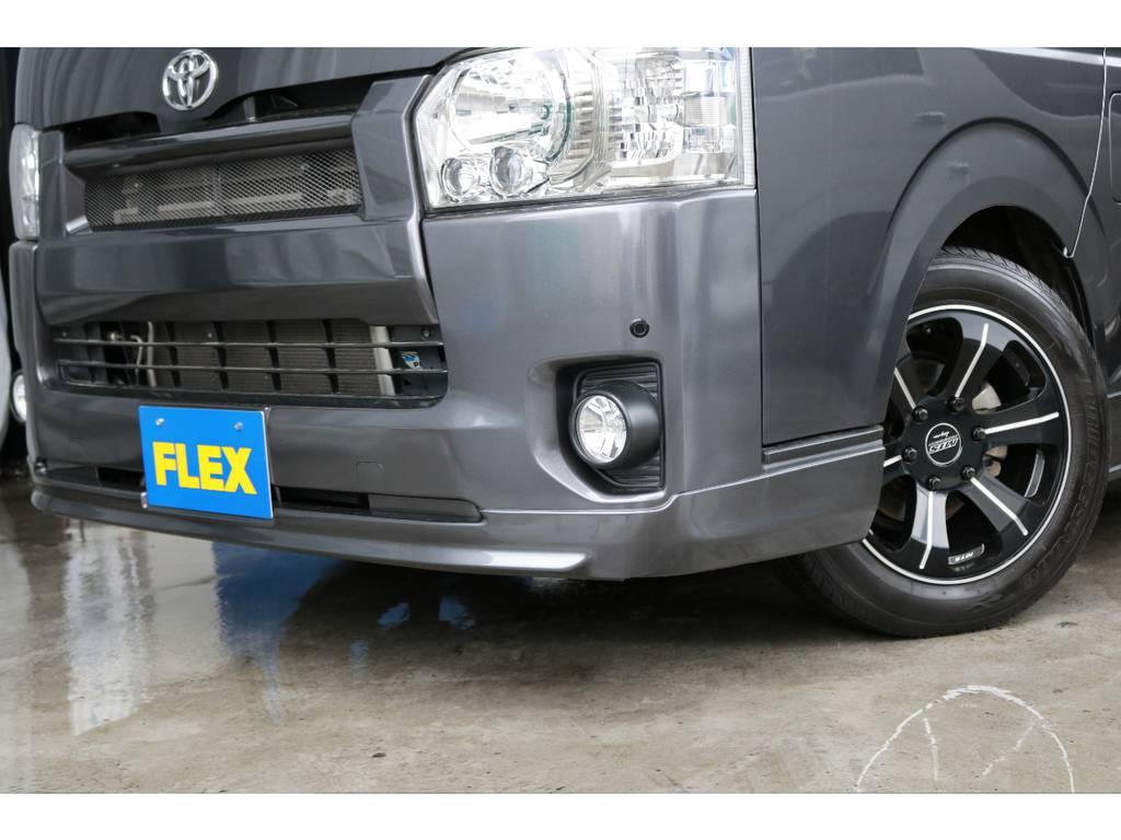 フロントリップ装着!! | トヨタ ハイエースバン 3.0 スーパーGL ダークプライム ロングボディ ディーゼルターボ 4WD ナビ・ETC・Bカメラ付