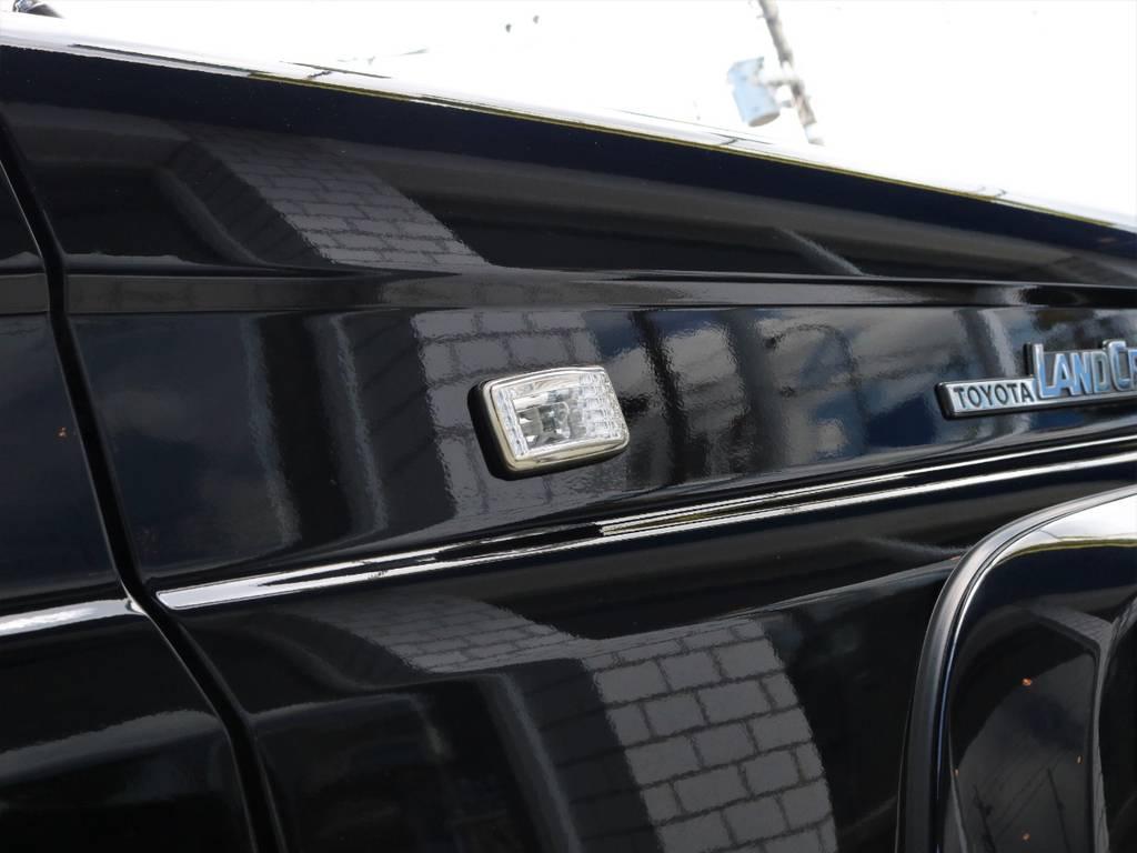サイドマーカーもフロントウィンカー等に合わせてクリアーの物に換装済みです。 | トヨタ ランドクルーザープラド 3.0 SXワイド ディーゼルターボ 4WD 初売り特選車