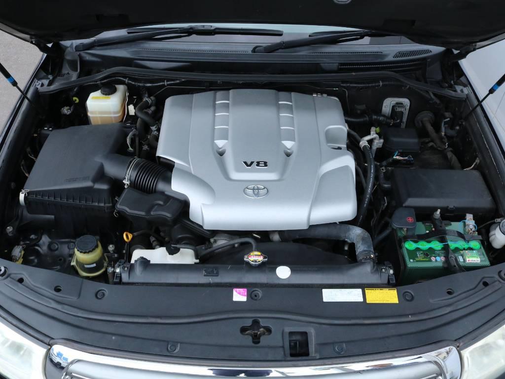 4.7L・V8エンジン!ランクル100の改良型エンジンですので大きなボディーも楽々引っ張ってくれます☆