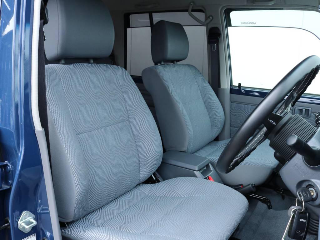 座り心地の良いファブリックシート!シートカバーも多種取り扱いございますのでご相談ください。