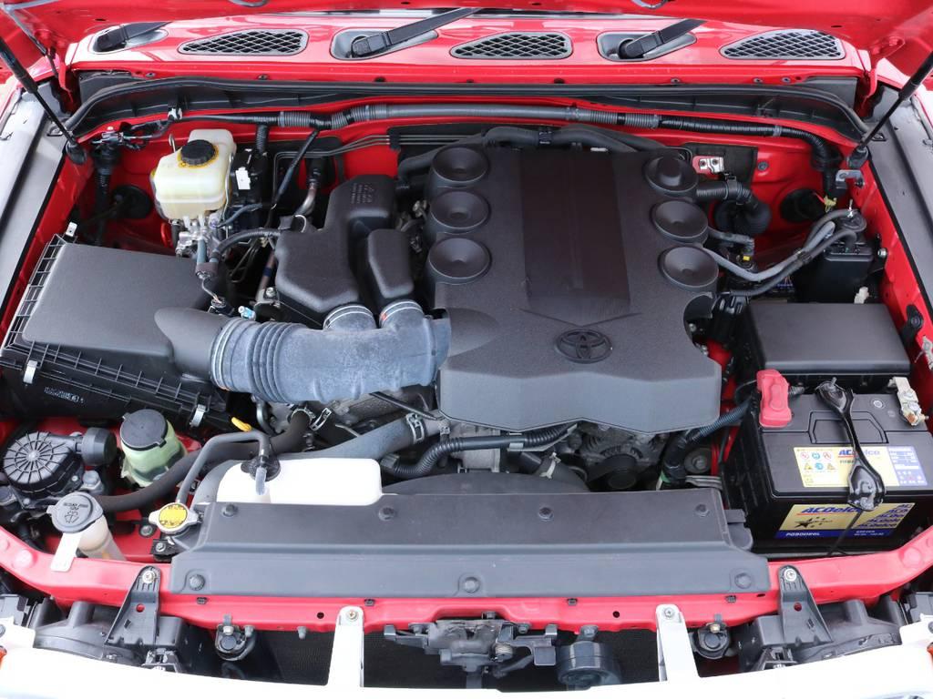 心臓部分は1GR・4000ccガソリンエンジン。150や再販70にも採用されているエンジンで、ガソリンモデルながら非常にパワフルです。