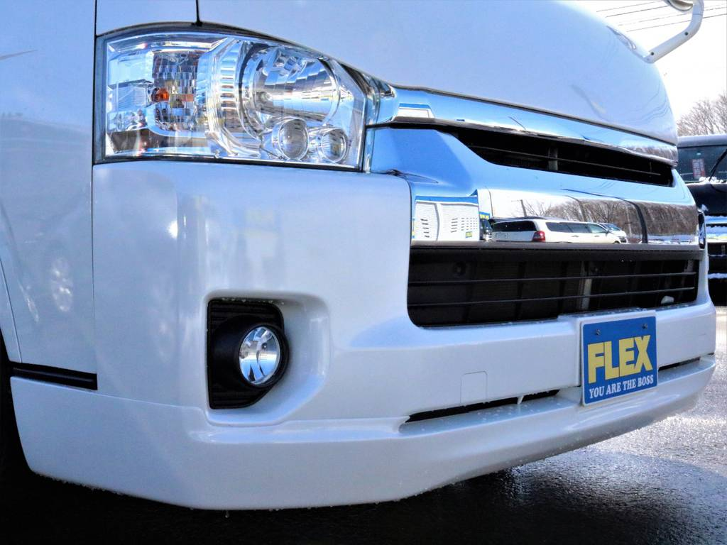 FLEXオリジナルフロントリップスポイラー! | トヨタ ハイエース 2.7 GL ロング ミドルルーフ 4WD 4型 20inダイナスティ 新品SDナビ