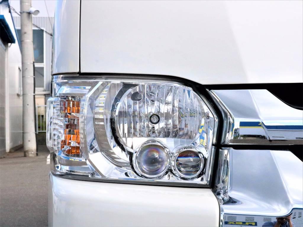 オプションのLEDヘッドライト! | トヨタ ハイエース 2.7 GL ロング ミドルルーフ 4WD 4型 20inダイナスティ 新品SDナビ