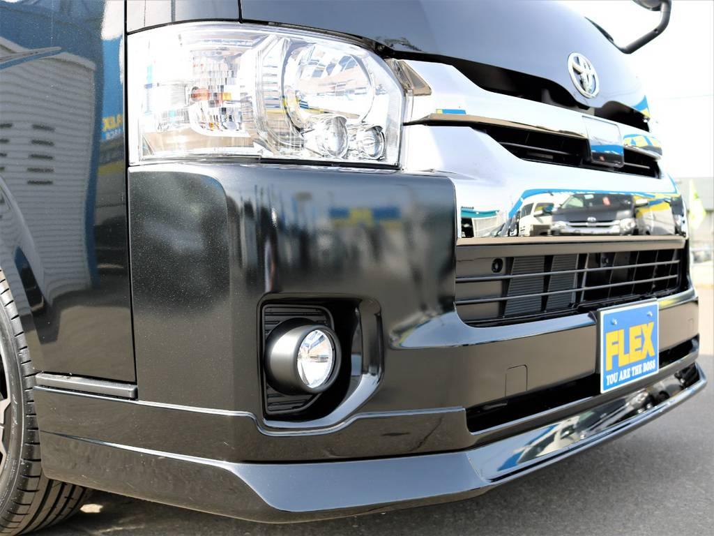 FLEXオリジナル【DelfinoLine】フロントリップスポイラー! | トヨタ ハイエースバン 2.7 スーパーGL ワイド ロング ミドルルーフ 4WD FLEXオリジナル車中泊カスタム