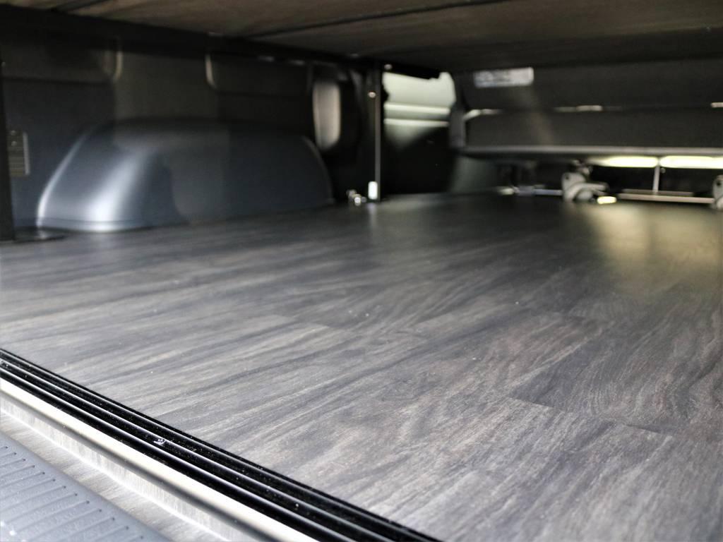 床張り施工済み!これでお掃除もラクラクですね! | トヨタ ハイエースバン 2.7 スーパーGL ワイド ロング ミドルルーフ 4WD FLEXオリジナル車中泊カスタム