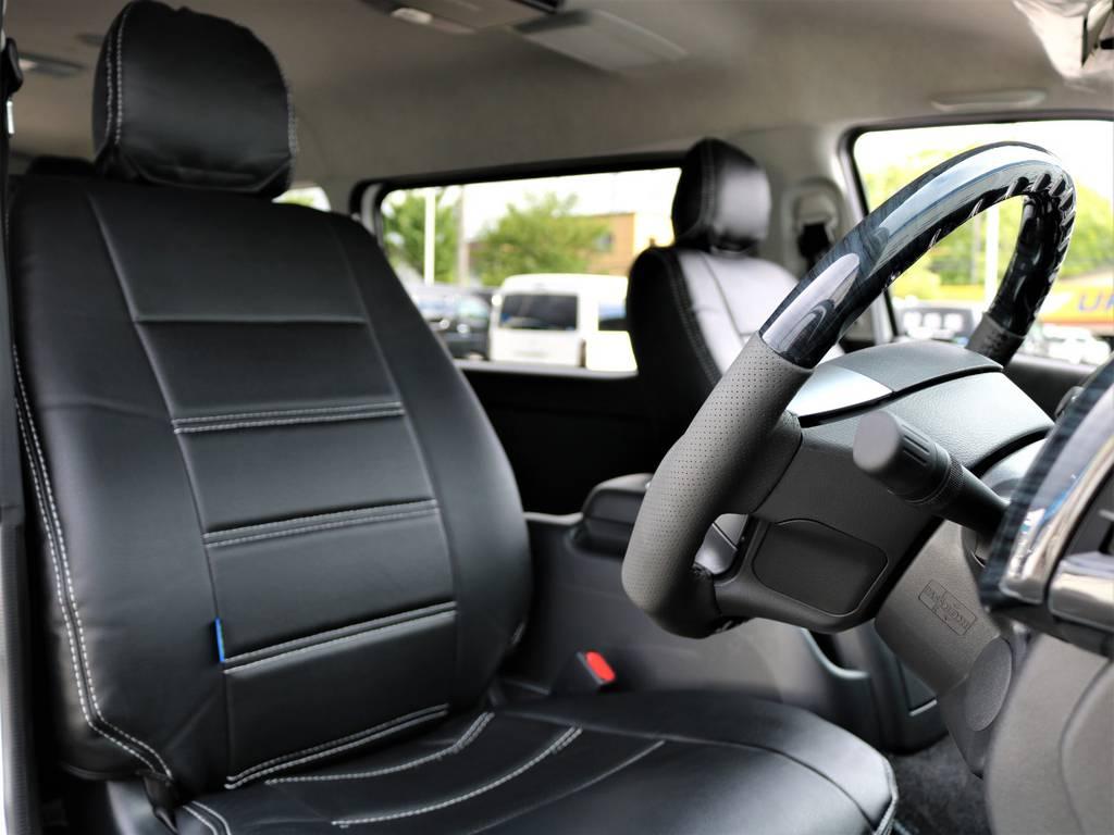 黒革調シートカバー!   トヨタ ハイエース 2.7 GL ロング ミドルルーフ 4WD FLEX Ver1 ツインナビPKG