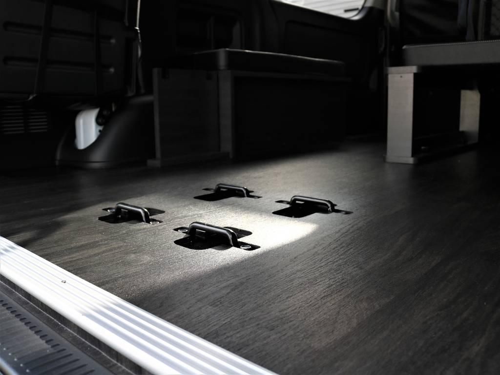 専用床張り施工でお掃除もラクラクです!   トヨタ ハイエース 2.7 GL ロング ミドルルーフ 4WD FLEX Ver1 ツインナビPKG
