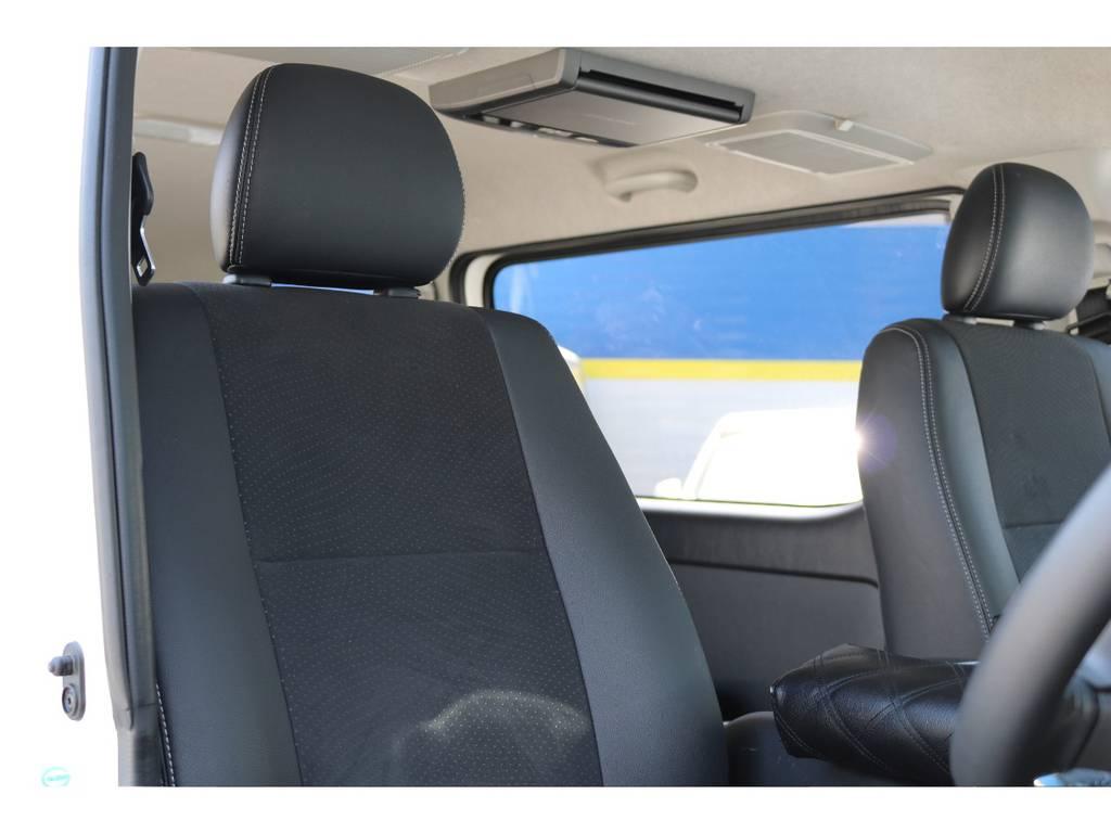 特別仕様車ダークプライム専用ハーフレザーシート! | トヨタ ハイエースバン 3.0 スーパーGL  ダークプライム ロングボディ ディーゼルターボ