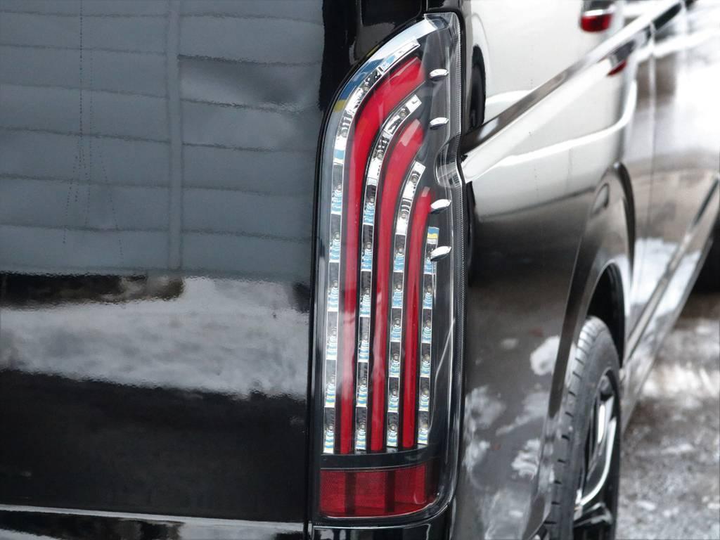 FLEXオリジナルLED煌きテールランプRED装着! | トヨタ ハイエースバン 2.8 DX ワイド スーパーロング ハイルーフ GLパッケージ ディーゼルターボ 4WD フロアー施工&トリムレザーPKG