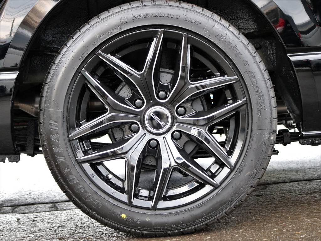 FLEXオリジナルアルミホイールDelf01 18インチ装着! | トヨタ ハイエースバン 2.8 DX ワイド スーパーロング ハイルーフ GLパッケージ ディーゼルターボ 4WD フロアー施工&トリムレザーPKG