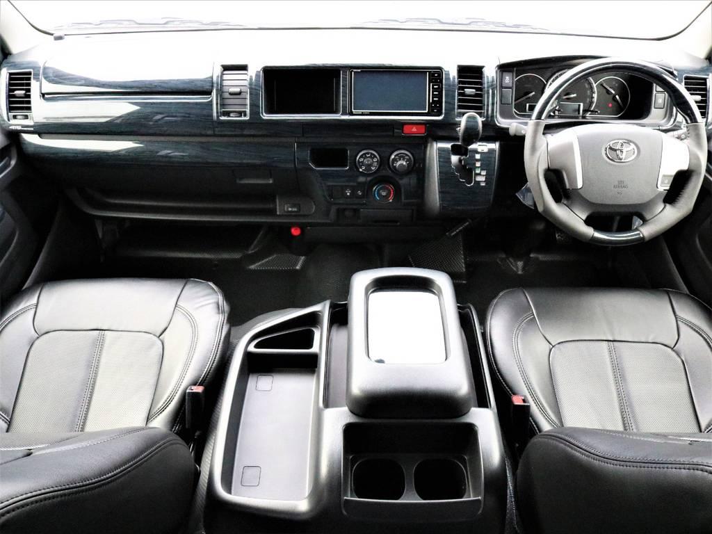 <ハイエース バン DX ディーゼル 5人乗り 床張り施工 トリムレザー張り ナビ&ETC搭載>   トヨタ ハイエースバン 2.8 DX ワイド スーパーロング ハイルーフ GLパッケージ ディーゼルターボ 4WD フロアー施工&トリムレザーPKG
