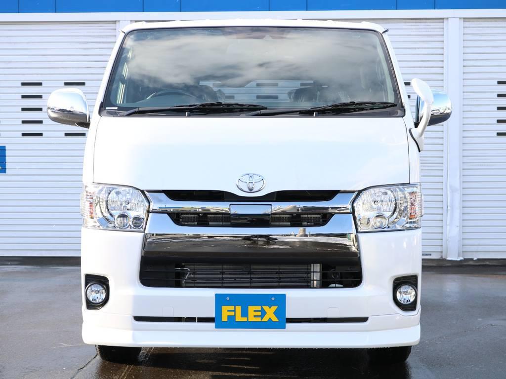 FLEXオリジナル デルフィーノライン フロントリップスポイラー! | トヨタ ハイエースバン 2.8 スーパーGL ダークプライムⅡ ロングボディ ディーゼルターボ 4WD フローリング&ベッドパッケージ