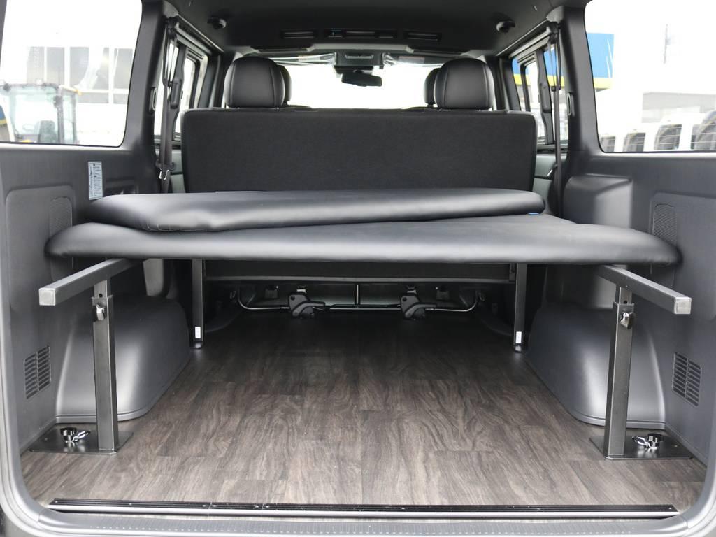 FLEXオリジナルベッドキット搭載!5段階の高さ調節機能付き!マットの着脱も簡単です! | トヨタ ハイエースバン 2.8 スーパーGL ダークプライムⅡ ロングボディ ディーゼルターボ 4WD フローリング&ベッドパッケージ