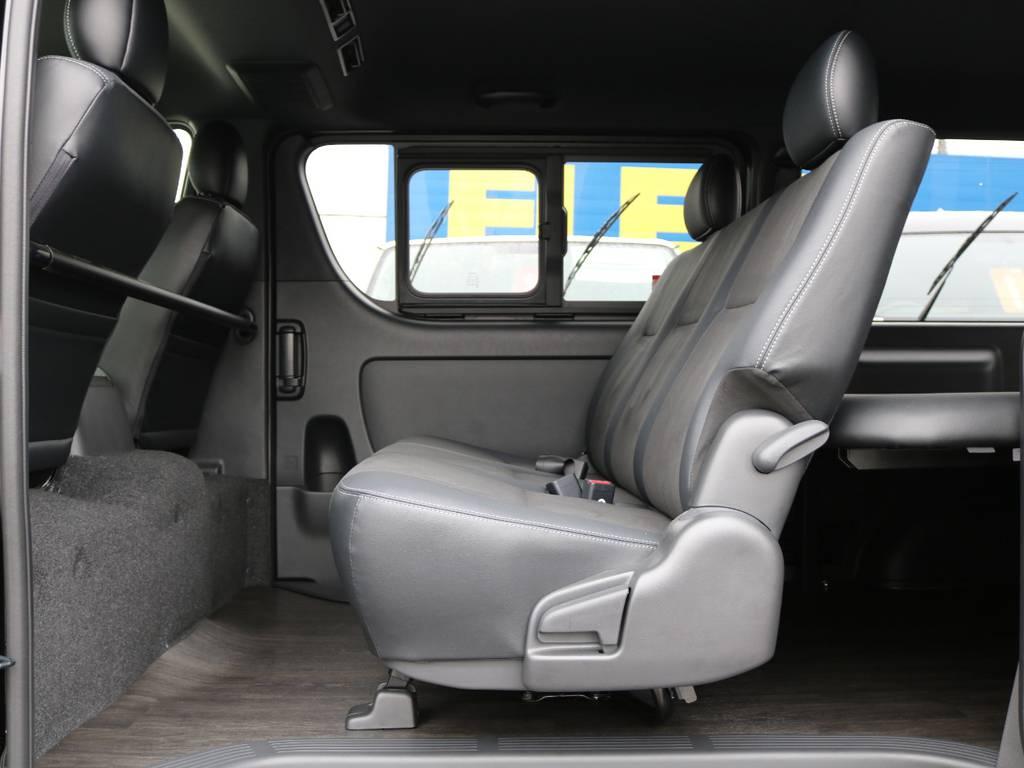 肌触り・座り心地良好です! | トヨタ ハイエースバン 2.8 スーパーGL ダークプライムⅡ ロングボディ ディーゼルターボ 4WD フローリング&ベッドパッケージ
