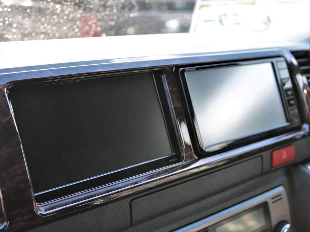 ナビ&サブモニター搭載!地図画面とオーディオ画面の同時視聴が可能です!ワイドボディならではのカスタム!   トヨタ ハイエースバン 2.7 スーパーGL 50THアニバーサリー リミテッド ワイド ミドルルーフ ロングボディ4WD FU-Wスライドシート