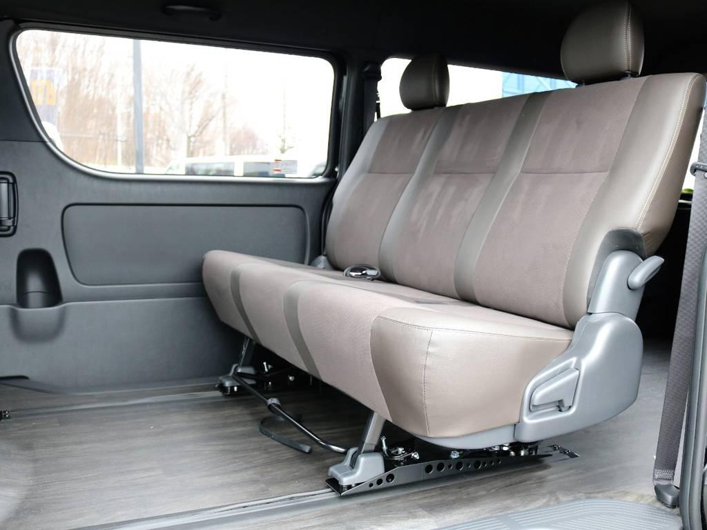 さらにベッドの前側部分のみを外せば、シートを後ろに下げることができ、前側にも有効に使えるスペースが生まれます!   トヨタ ハイエースバン 2.7 スーパーGL 50THアニバーサリー リミテッド ワイド ミドルルーフ ロングボディ4WD FU-Wスライドシート