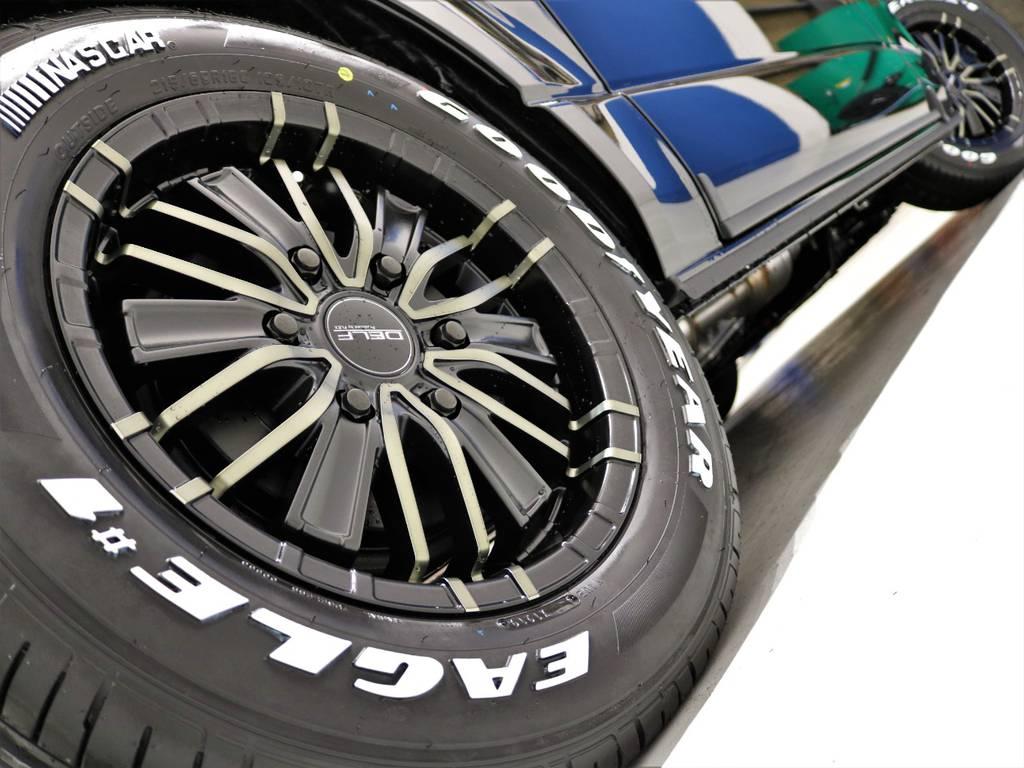 FLEXオリジナルDelf-MF01アルミホイール16inとGOODYEARナスカータイヤの組み合わせ! | トヨタ ハイエースバン 2.8 スーパーGL ダークプライムⅡ ロングボディ ディーゼルターボ 4WD 床張りツインナビPKG