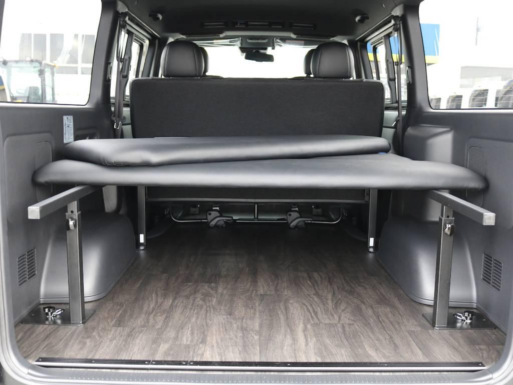 ベッドキッドは取り外し可能!5段階高さ調整付きです! | トヨタ ハイエースバン 2.8 スーパーGL ダークプライムⅡ ロングボディ ディーゼルターボ 4WD 床張りツインナビPKG