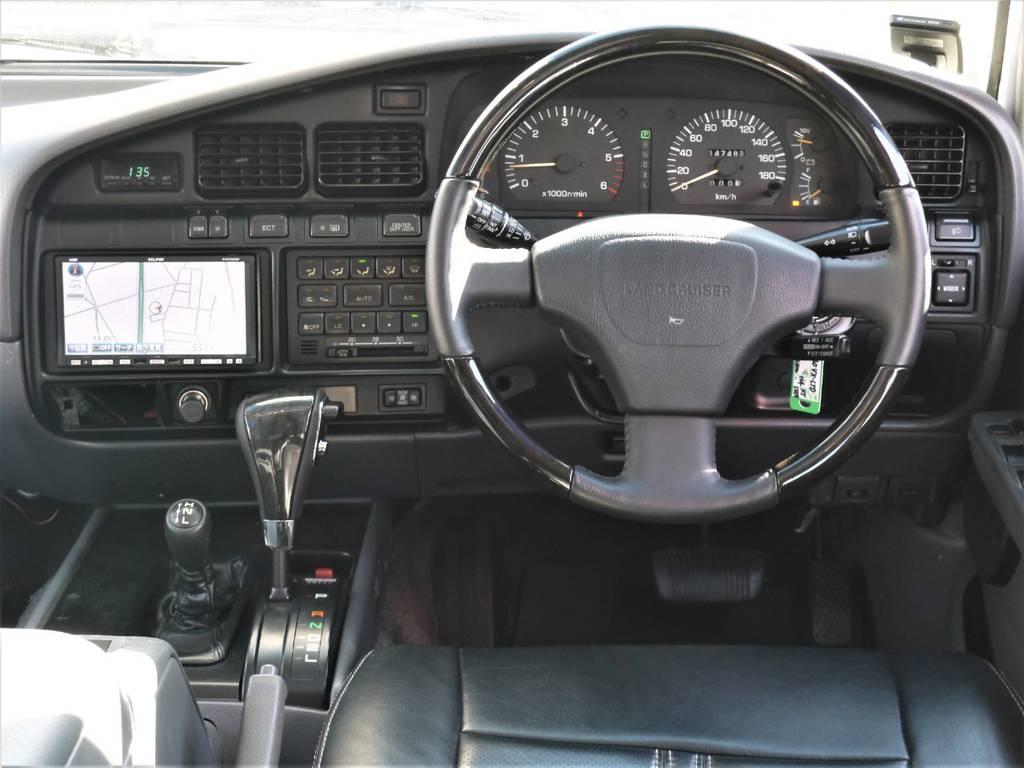 ブラックウッドコンビハンドルがカッコ良いですね♪ | トヨタ ランドクルーザー80 4.5 VXリミテッド 4WD 中期 3インチアップ