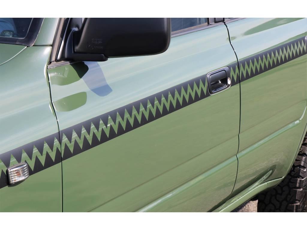 グリーンの車体に黒のデカールがピシッと決まってます!