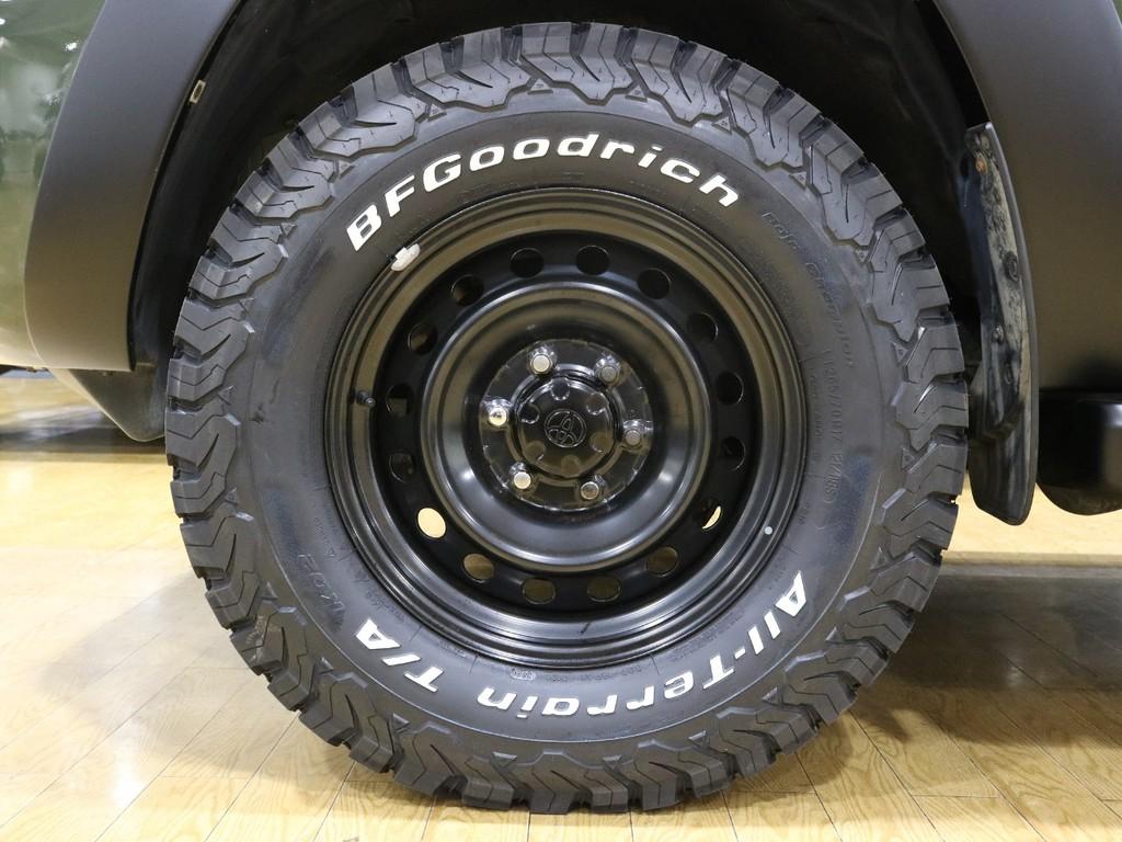 FJクルーザー用鉄チンホイールに人気のBFグッドリッチATタイヤインストールしております。